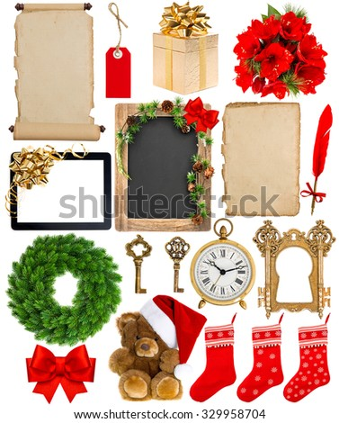 Christmas decoration, ornaments and gifts. Old book page, paper, scroll, wreath, blackboard, flowers isolated on white background - stock photo