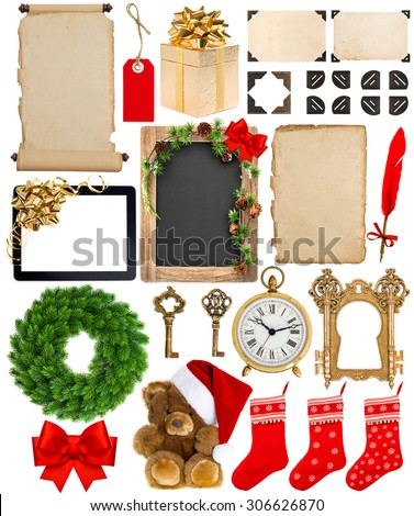 Christmas decoration, ornaments and gifts. Old book page, paper, scroll, wreath, blackboard, corner and photo frame isolated on white background. Merry Christmas! - stock photo