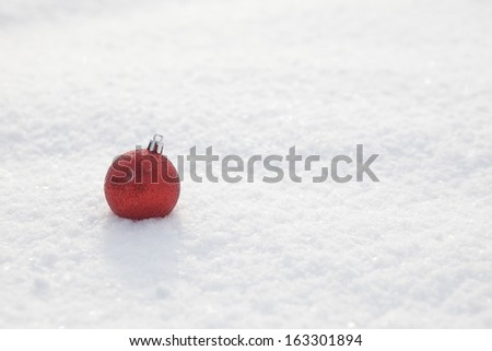 Christmas decoration outside in a snowy landscape - stock photo
