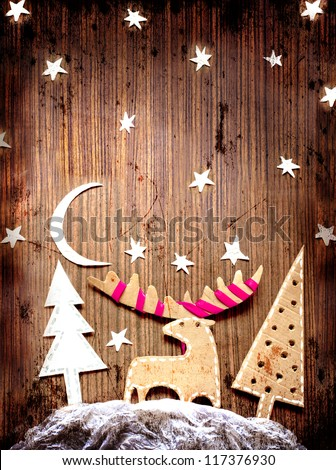Christmas decoration over grunge background/vintage paper christmas card