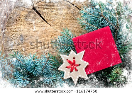 Christmas decoration over grunge wooden background/ Old wood cut texture/The texture of wood cut across. Can be used as background for christmas holidays - stock photo