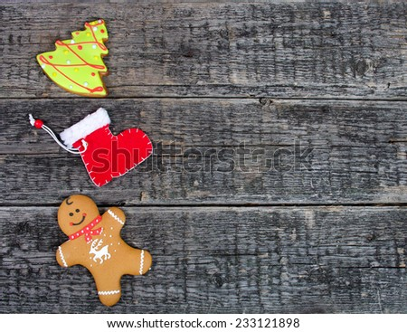 christmas decoration over old wooden background  - stock photo