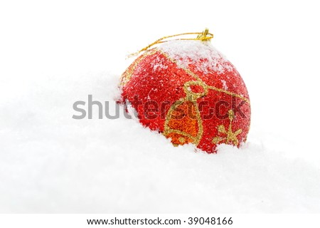 christmas decoration over snow
