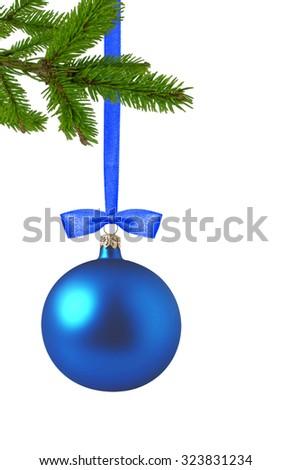 Christmas Decoration over white background - stock photo
