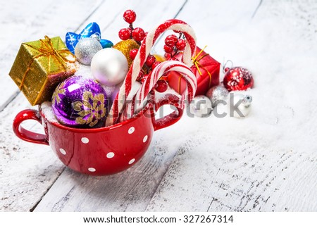 Christmas Decoration Over Wooden Background. - stock photo