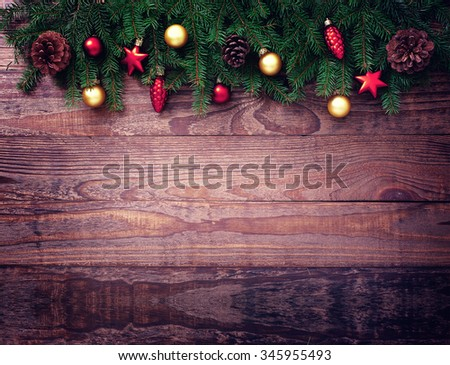 Christmas Decoration Over Wooden Background. Decorations Vintage