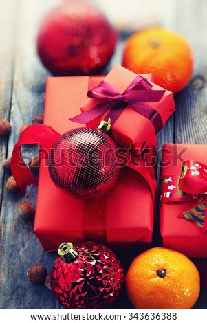 Christmas decoration over wooden background in vintage style - stock photo