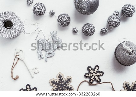 christmas decoration overhead flatlay, a few shades of grey, nothing too racy - stock photo