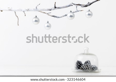 Christmas decoration pine cones in silver frosty icy tone, simple minimalist elegant design - stock photo