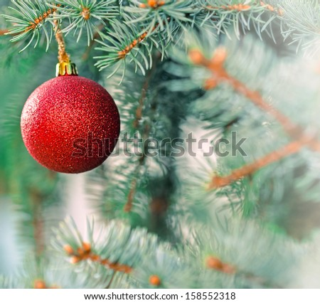 Christmas decoration - red bauble (xmas ball)  - stock photo