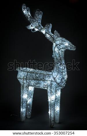 christmas decoration, reindeer wireframe - stock photo