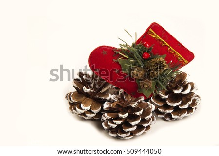 Christmas decoration Santa and pine cone shoe. White background