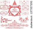 Christmas decoration set - lots of calligraphic elements, bits and pieces to embellish your holiday layouts. Collection of Christmas design elements isolated on White background.  illustration  - stock vector