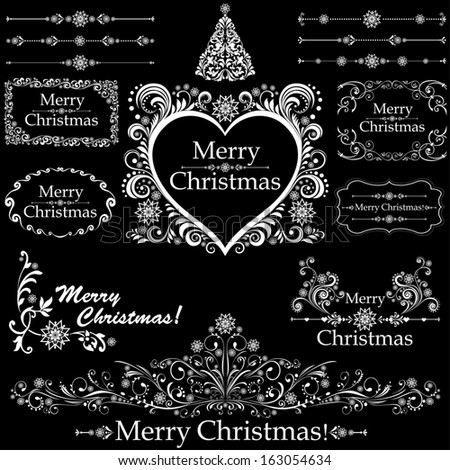 Christmas decoration set - lots of calligraphic elements, bits and pieces to embellish your holiday layouts. Collection of Christmas design elements.  illustration  - stock photo