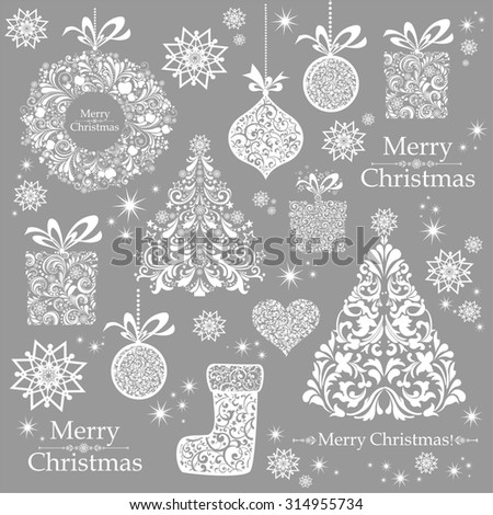 Christmas decoration set - lots of calligraphic elements, bits and pieces to embellish your holiday layouts. Christmas background. Merry Christmas wallpaper.  illustration  - stock photo