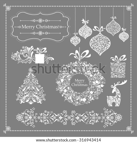 Christmas decoration set - lots of calligraphic elements, bits and pieces to embellish your holiday layouts. Collection of Christmas design elements isolated on Grey background.  illustration - stock photo