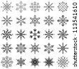 Christmas decoration: set snowflakes, black contour on white background - stock photo