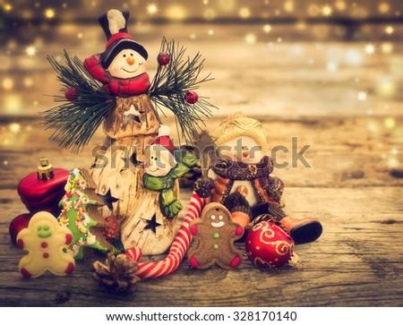 Christmas decoration - Snowman and Christmas cookies  - stock photo