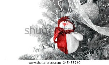christmas decoration snowman. Desaturated background