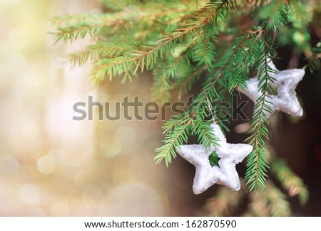 Christmas decoration star on the fir branch - stock photo