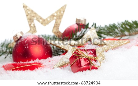 Christmas Decoration - Stars, Baubles and some snow - isolated on a white background