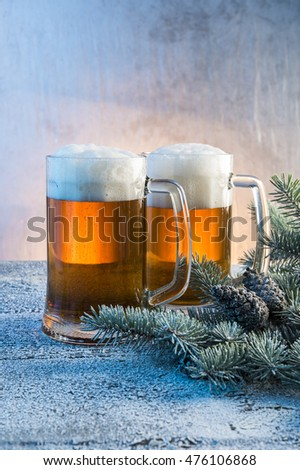 Christmas decoration with a light beer