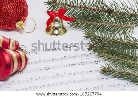 Christmas decoration with a music of jingle bells and some bells