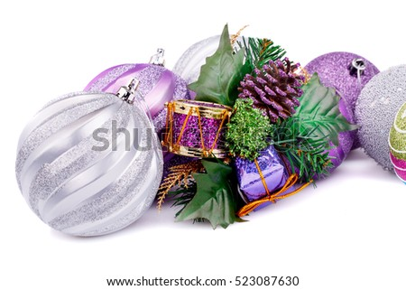 Christmas decoration with balls and cone isolated on white background.