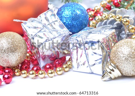 Christmas decoration with baubles and gifts
