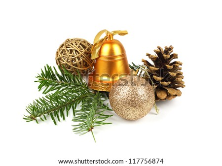 Christmas decoration with bell, pine cones and ball on white background