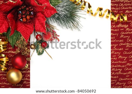 Christmas decoration with blank card. - stock photo