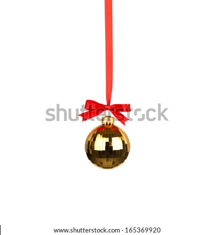 Christmas decoration with bows isolated on white background - stock photo