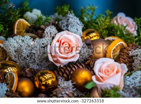 Christmas decoration with bubbles  and pink roses - stock photo