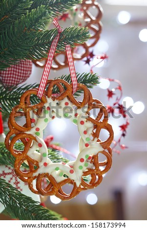 Christmas Decoration with chocolate covered pretzels wreath