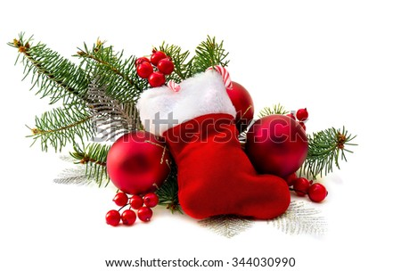 Christmas decoration with christmas stocking on white background - stock photo