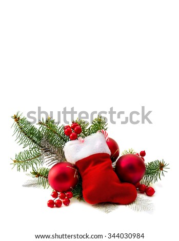 Christmas decoration with christmas stocking on white background with space for text
