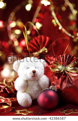 Christmas decoration with cute teddy bear - stock photo