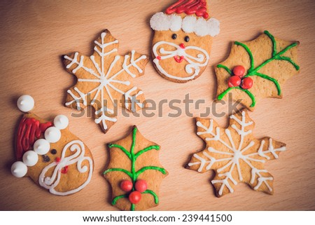Christmas decoration with delicious cookies. - stock photo
