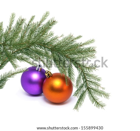 Christmas decoration with fir twigs and balls on white background - stock photo