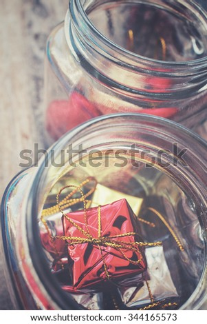 Christmas decoration with gift in jar