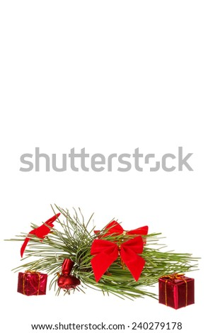 Christmas decoration with green pine or fir and many gifts for Christmas tree. Holiday decorations isolated on white background. Empty or copy space for holiday greeting card - stock photo