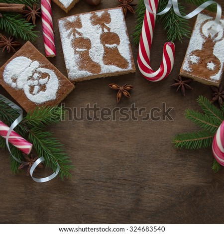 Christmas decoration with honey square cake