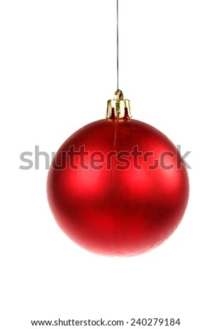 Christmas decoration with one red round ornament for Christmas tree - stock photo