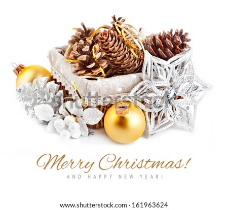 christmas decoration with pinecone in basket isolated on white background - stock photo