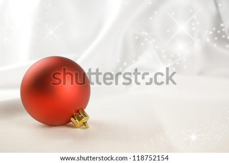 Christmas decoration with red balls and copy space, greeting card useful - stock photo