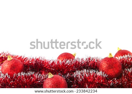 Christmas decoration with red balls, isolated, over white - stock photo