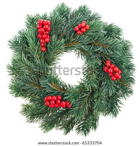Christmas decoration with red berries isolated on white background - stock photo