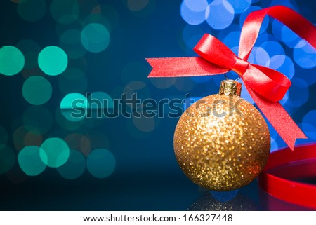 Christmas decoration with red ribbon  and Beautiful Bokeh