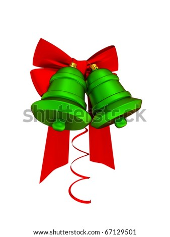 Christmas decoration with red ribbons and green bells. Isolated on white. 3d rendered. - stock photo