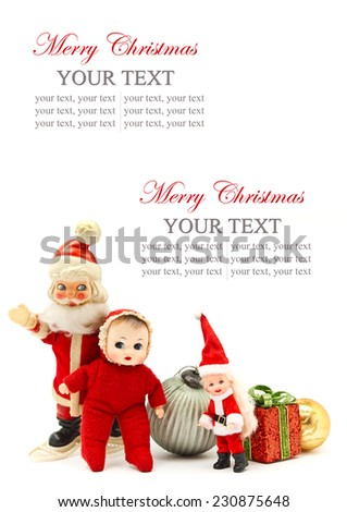 Christmas/decoration with Santa Claus and dolls, space for text